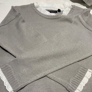 Sweater with Lace trim Detail